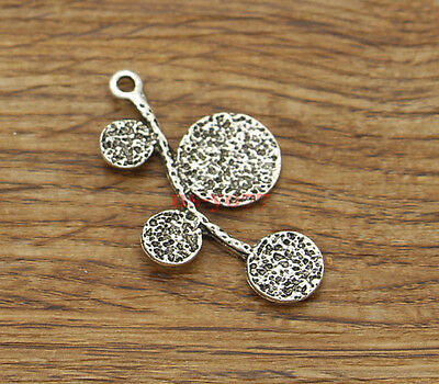10 Large Tree Leaf Leaves Charm Pendants Findings Antique Silver Tone 24x41 1500