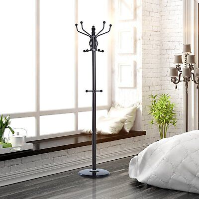 "69"" Standing Coat Rack Tree Metal Hat Jacket Holder 4 Level 15 Hooks"