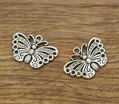 20 Butterfly Charm Circle Charms Moth Fly Alloy Charm Antique Silver 18x22mm 311