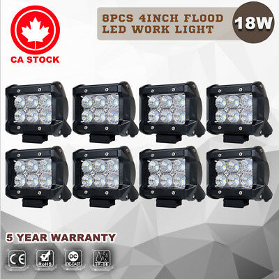 8X 4inch 18W CREE Flood LED Work Light Bar Driving Lamp Offroad Boat 12V 24V