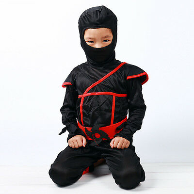 Boys Kids Ninja Assassin Japanese Samurai Warrior Fancy Dress Cosplay Costume