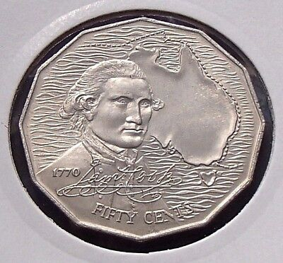 1970 Australia 50c Fifty Cent Coin Uncirculated - Captain Cook - In Coin Flip