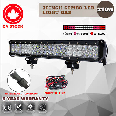 20Inch 210W PHILIPS LED Light Bar Spot Flood Offroad 4WD Driving Lamp 12V 24V