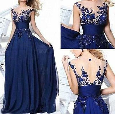 Women Evening Prom Gown Full Length Wedding Applique Cocktail Party Dress SZ 12