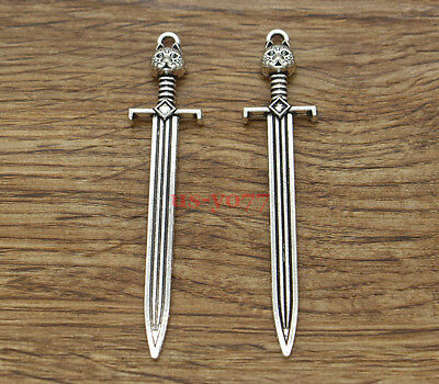 10pcs Large Sword Knife Charms Pendants Finding Antique Silver Tone 67x15mm 1544