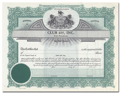 Club 615, Inc. Stock Certificate (York, Pennsylvania)