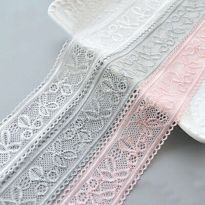 2 Meters Stretch Elastic Lace Edge Trim Embroidery Flower Ribbon Hairband Sewing