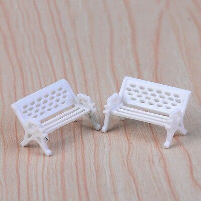 White Seat Bench Outdoor Garden Park Decor Miniature DIY Furniture Doll House 2X