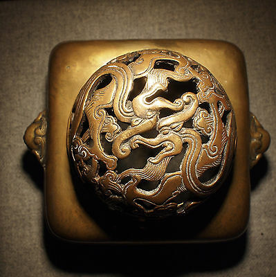 Chinese  bronze censer raised on 4 feet  dragon lid Xuande  Seal Qing
