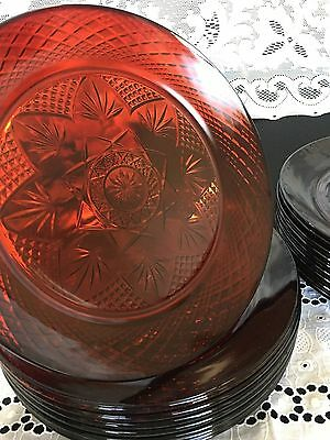 "Antique-Ruby Red Cristal D'Arques Luminarc France 10"" Dinner Plate"
