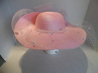 Ladies Beautiful Church Dress Hat ( Pink With Netting )
