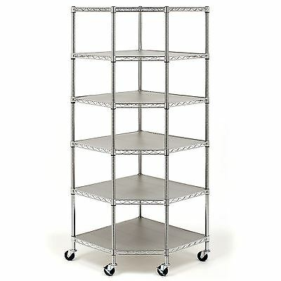 Seville Classics NSF-Certified Heavy-Duty Steel 6-Level Corner Shelf  ** NEW **