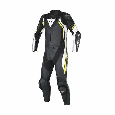 Dainese Avro D2 Div 2PC Two Piece Leather Race Suit Black White Yellow-Fluo NEW!