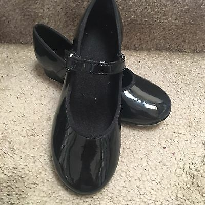 Dance Class girl's tap shoes size 10 black Hook And loop Strap