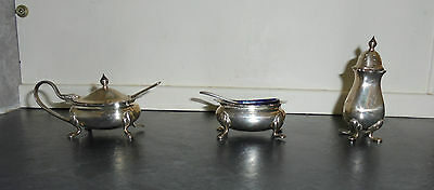 Silver Plated 3 Piece Footed Cruet Set w/Blue Glass Liners