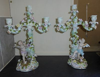Pair Of Antique Three Branch Flower Encrusted Candelabra By Coburg Or Schierholz