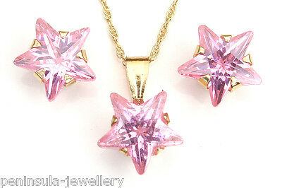 9ct Gold Pink CZ Star Pendant and Studs Earring Set Made in UK Gift Boxed