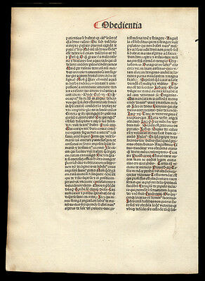 Early  Incunable Leaf Flos Theologiae by Nicolaus de Byard Dominican Catholic