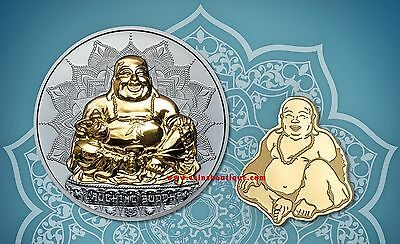 LAUGHING BUDDHA 1oz Black Proof Silver and Gold Coins Set  Palau 2017