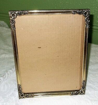 Vintage Silver/gold? Tone Metal Picture Frame Embossed With Flowers 8 X 10