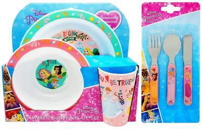 Disney Princess 6-Piece Dinner Set | Tumbler, Bowl, Plate, Knife, Fork and Spoon