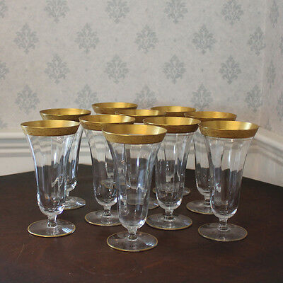Set of 10 Vintage Etched Tiffin Franciscan Minton Gold Rimmed Fluted Glasses