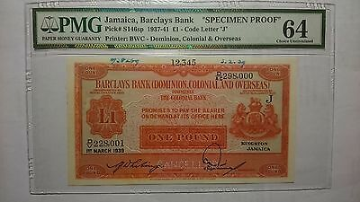 Jamaica Barclays 1 Pound 1939 Specimen Proof Dominion Colonial Overseas DCO PMG