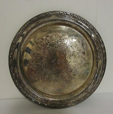 "Vintage 10"" Round Ornate Serving Plate Charger Tray Silver Plate"