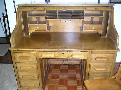 Oak roll top desk and antique chair