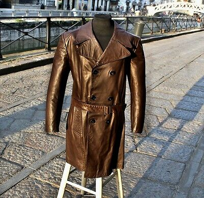 Trench pelle marrone originale vintage leather made in italy anni 70 tg 50 uomo