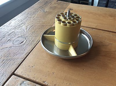 Atomic Space Age Mid Century Yellow Swivel Pencil Holder Desk Organizer