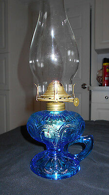 Antique Imperial Blue Zipper Loop Finger Oil Lamp~Complete