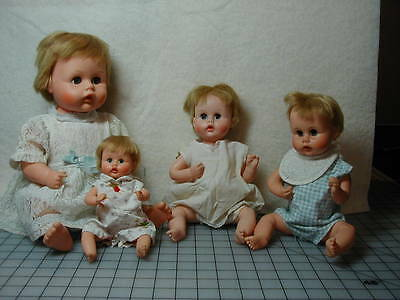 Lot of 4 Vintage American Character Dolls Tiny Tears of All Sizes 17 to 9 Inches