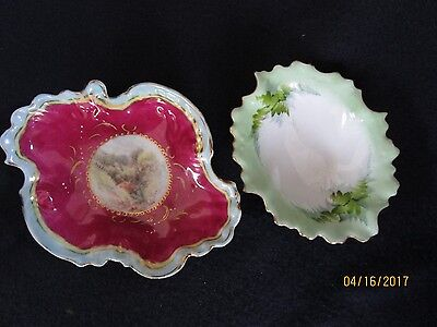 Two Antique Painted Candy Dishes