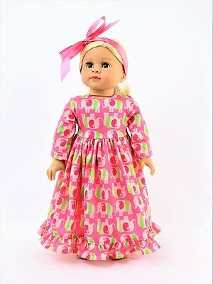 "Pink Luau Elephant Nightgown Pajamas Fits 18"" American Girl Doll Clothes"