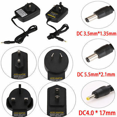 5V 9V 12V 1A 2A AC DC 3.5mm*1.35mm 5.5mm*2.5mm Power Supply Adapter AU UK EU US