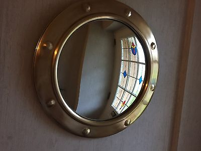 Vintage/Retro Brass Convex Port Hole Style Wall Mirror 1940s Nautical Porthole