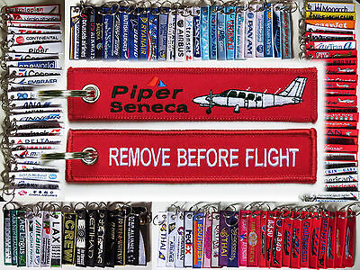Keyring Piper Seneca PA-34 in red Remove Before Flight keychain