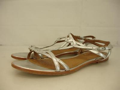 womens 7.5 M corso como silver sandals leather gladiator slingback ankle strap