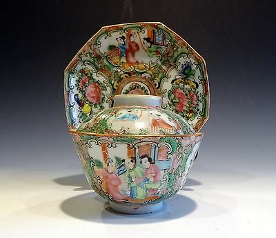 Chinese Export Qing 19th Famille Rose Medallion Tea Cup with Cover and Saucer