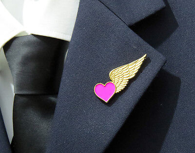 HALF WINGS with PINK HEART for Flight Attendants Air Hostess Stewardess gift