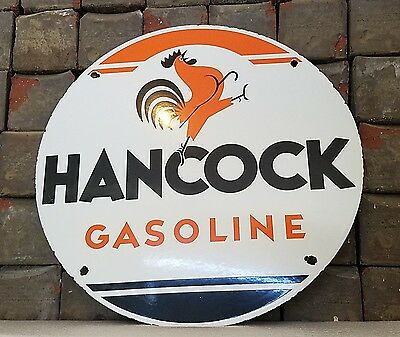 Vintage Hancock Gasoline Porcelain Used Gas Oil Service Station Pump Plate Sign