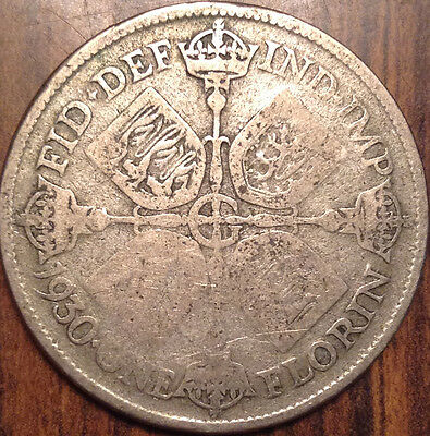 1930 Gb Uk Great Britain Florin .500 Silver Better Date In Good Condition !