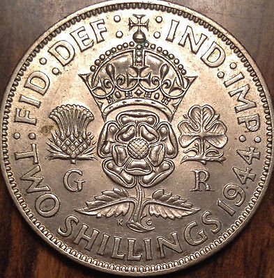 1944 Gb Uk Great Britain Two Shillings .500 Silver In Great Condition !