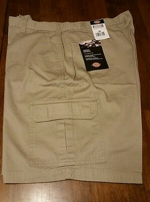 Mens Dickies Khaki Cargo Shorts Relaxed Fit Sz 40W, 10 Inch Inseam, New W/tags