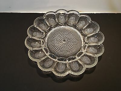 Indiana Glass Clear Crystal Egg Relish Tray with Box #2410