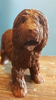 VINTAGE English Sheepdog figure.  Red Mill Co.  Made of pecan shells!  COOL!