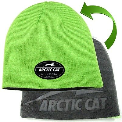 Arctic Cat Reversible Beanie Cotton/Acrylic - Green & Gray - 5279-807
