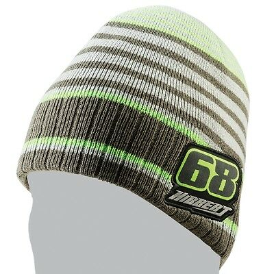 Arctic Cat Tucker Hibbert 68 Stripe Acrylic Beanie - Gray White Green - 5273-112