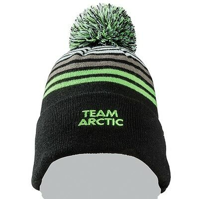 Arctic Cat Team Arctic Stripes with Pom Beanie - Black Green White - 5273-085